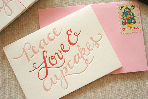 Peace Love Cupcakes Letterpress Holiday Card