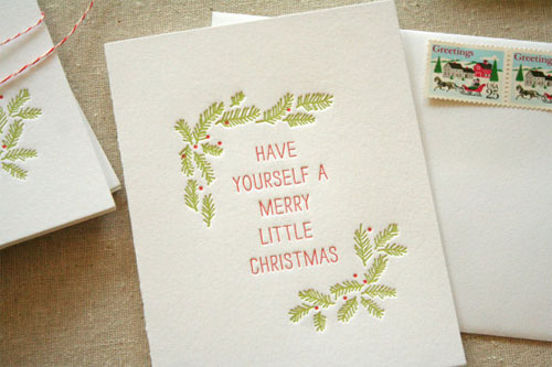 Merry Little Christmas Letterpress Holiday Card