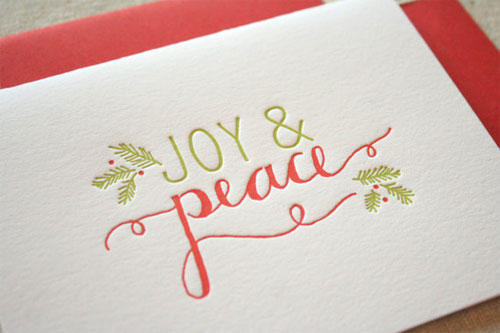 Joy Peace Letterpress Holiday Card
