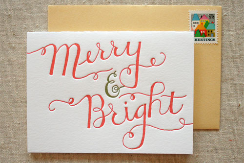 Merry & Bright Letterpress Holiday Card