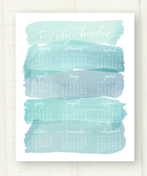 Watercolor Wash Calendar