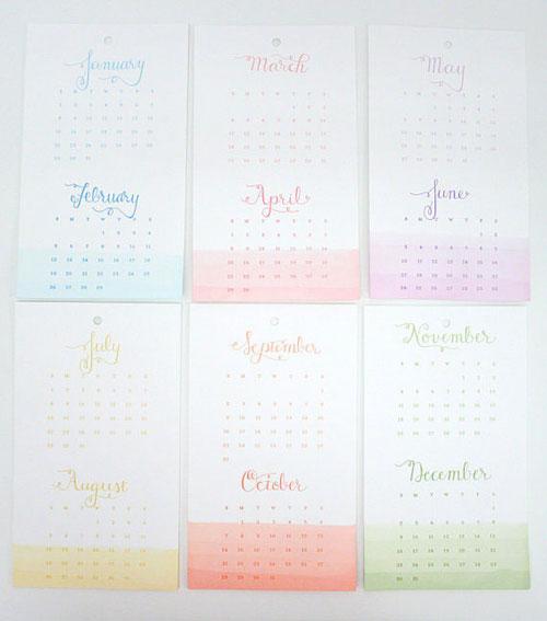 Letterpress Dip-Dyed Calendar