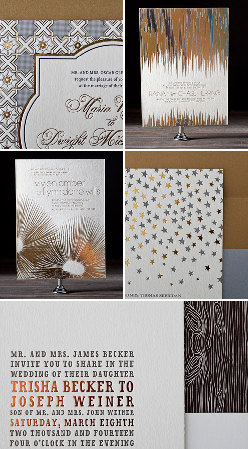 Metallic Foil Stamped Wedding Invitations