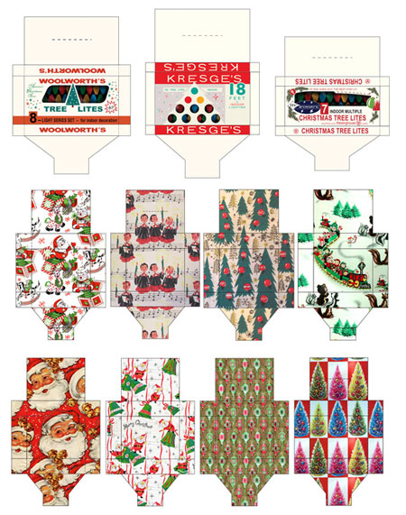 Retro Christmas Printable Gift Boxes