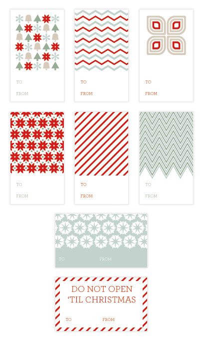 Mid Century Printable Holiday Gift Tags