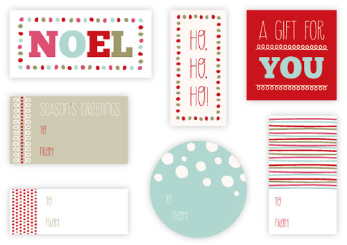 Mod Century Printable Holiday Tags