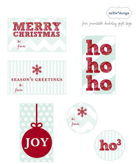 Nellie Design Printable Holiday Tags