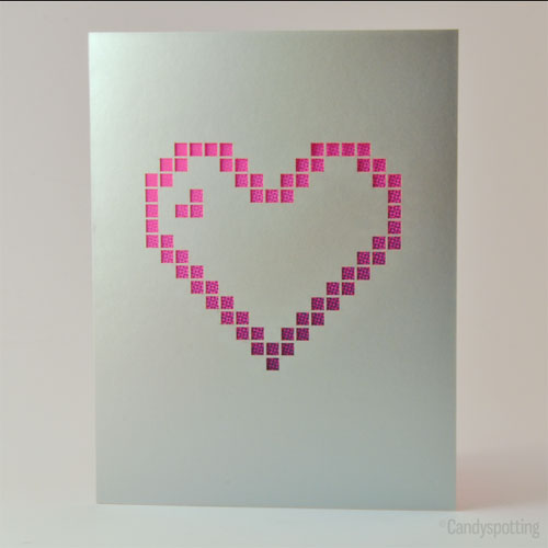 Neon Pixel Heart Card