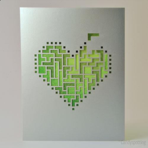 Neon Tetris Heart Card