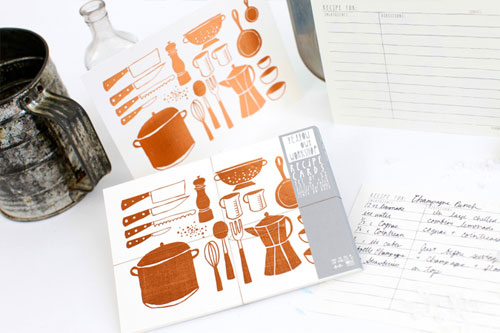 Copper Kitchen Tools Recipe Cards