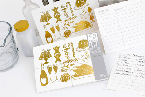 Gold Festive Recipe Cards