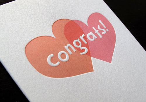 Two Hearts Letterpress Card