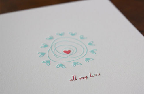 Honizukle Love Letterpress Card