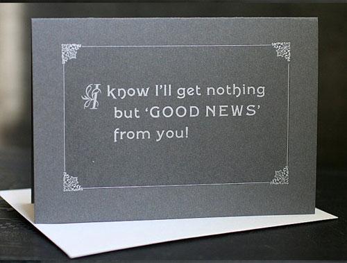 Silent Film Good News Card