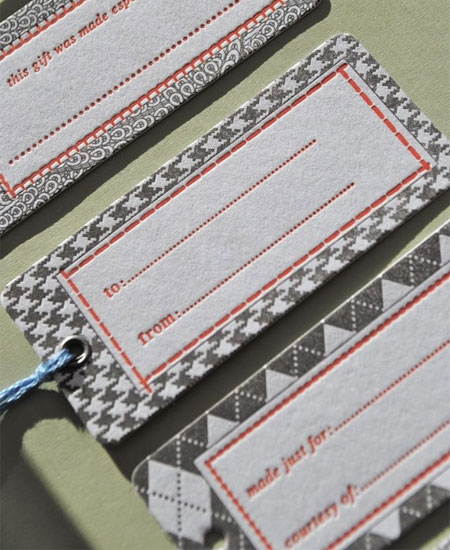 Menswear Inspired Letterpress Gift Tags