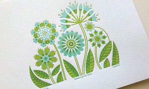 Summer Garden Letterpress Print