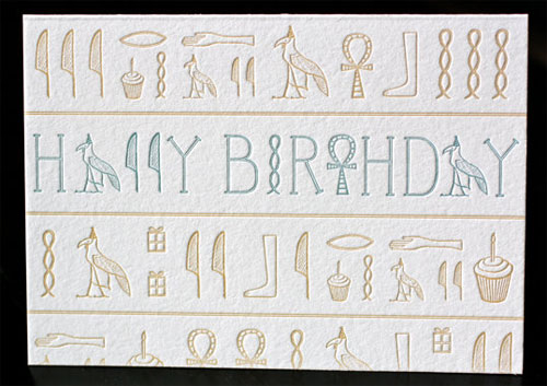 Hieroglyphics Birthday Card