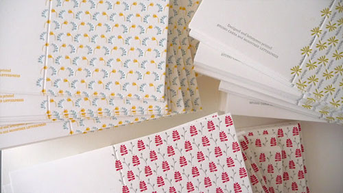 Leaf and Straw Letterpress Cards