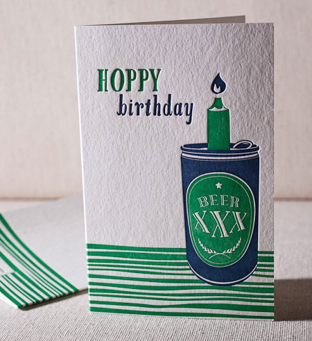 Letterpress happy birthday cards paper crave hoppy birthday beer card bookmarktalkfo Choice Image