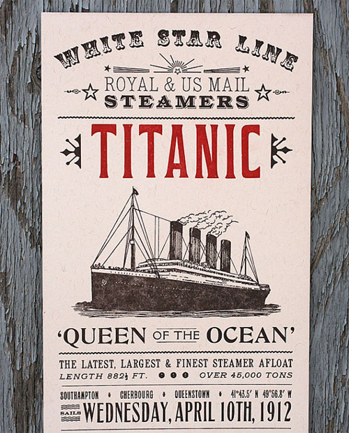 Titanic Letterpress Print