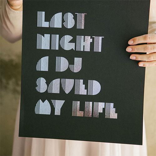 Akimbo Silver Foil Disco Print