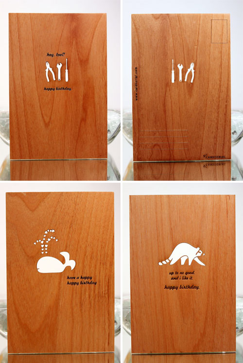 Cardtorial Wood Engraved Laser Cut Cards