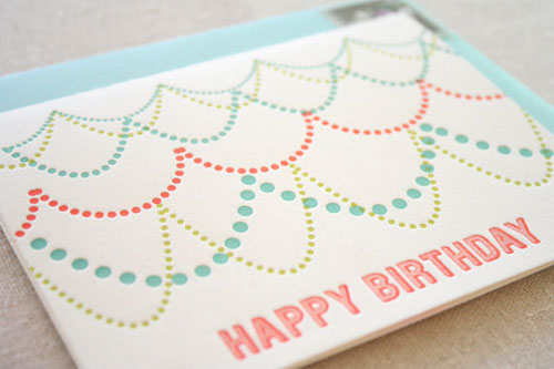 Letterpress Happy Birthday Card