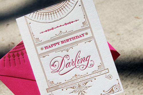 Wiley Valentine Darling Letterpress Card