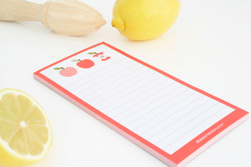Apple Notepad by Ella Leach Designs