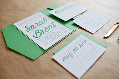 Green + White Letterpress Wedding Invitations