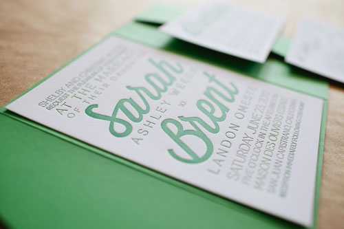 Modern Typographic Letterpress Wedding Invitations