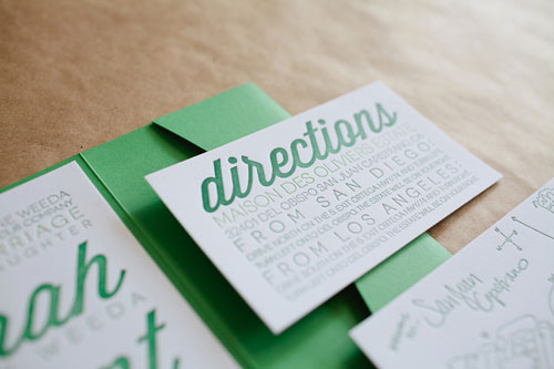 Letterpress Wedding Directions Card