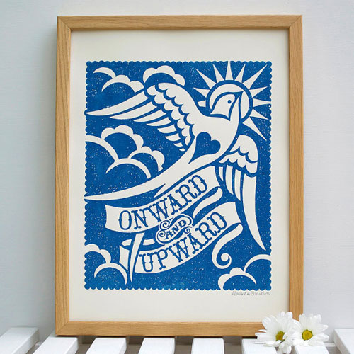 Onward and Upward Screenprint by Alexandra Snowdon