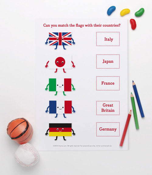 Printable Flag Match Game