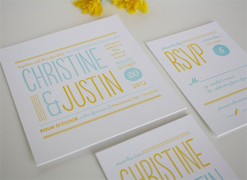 Whimsical Typography Letterpress Wedding Invites