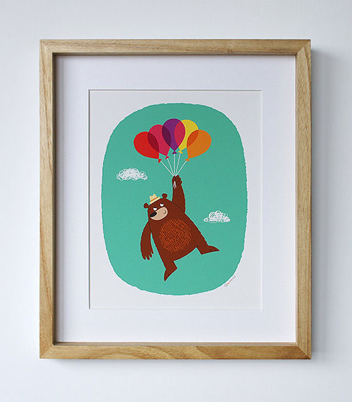 Bear + Balloons Nursery Art Print
