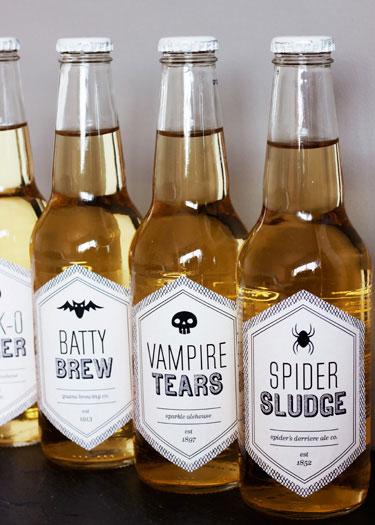Printable Halloween Beverage Labels