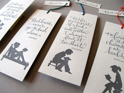 Tag Team Tompkins Letterpress Bookmarks