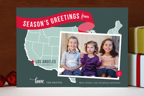 Holiday Map Photo Cards (West Coast)