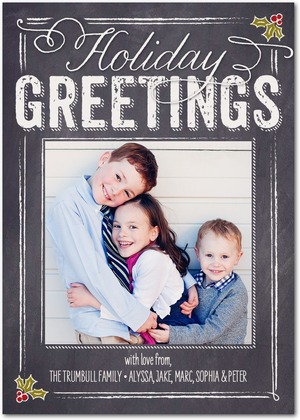 Holly Blackboard Holiday Photo Cards