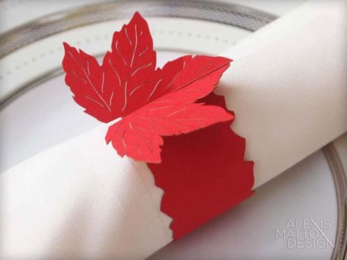 Laser Cut Leaf Napkin Rings