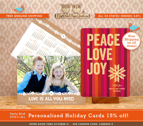 Night Owl Paper Goods Personalized Holiday Cards