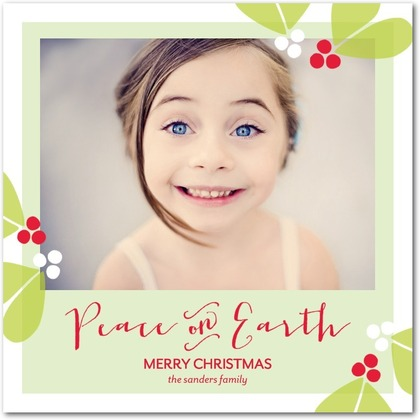 Peaceful Holly Holiday Photo Cards