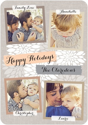 Printed Linen Holiday Photo Cards
