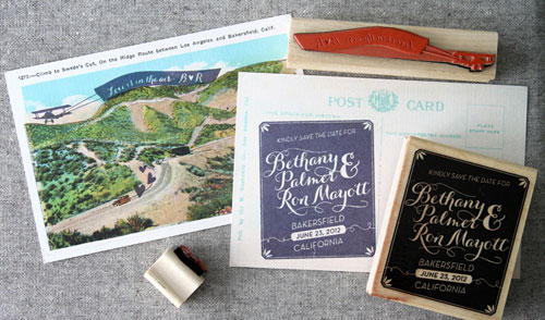 Custom Rubber Stamp Save the Date Postcards