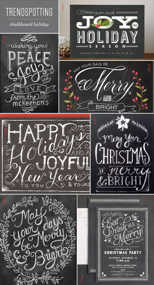 Trendspotting : Chalkboard Holiday Cards + Invitations - Paper Crave