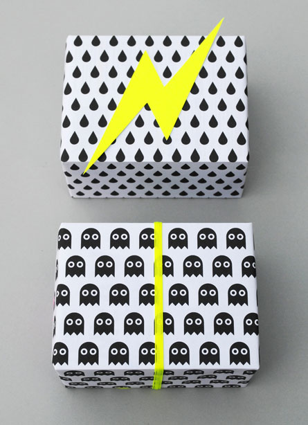 Black + White Printable Halloween Wrapping Paper