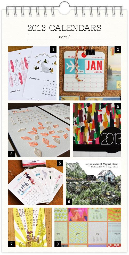 2013 Calendar Designs, Part 2