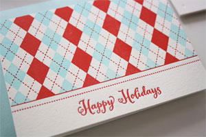 Argyle Happy Holidays Letterpress Card
