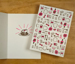 Christmas Pudding Letterpress Card